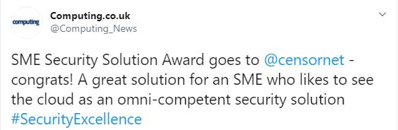 2019 SME award win computing security tweet